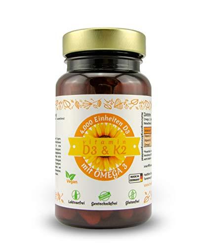 Vitamin D3, K2 (MK7) und Omega 3 - hochdosiert 4000 I.E. | 90 Depot Kapseln (alle 4 Tage eine) | 100% Pflanzlich, Vegan und ohne Zusatzstoffe | Laborgeprüft und hergestellt in Deutschland - 90 Tabletten Natürlich Vitamine