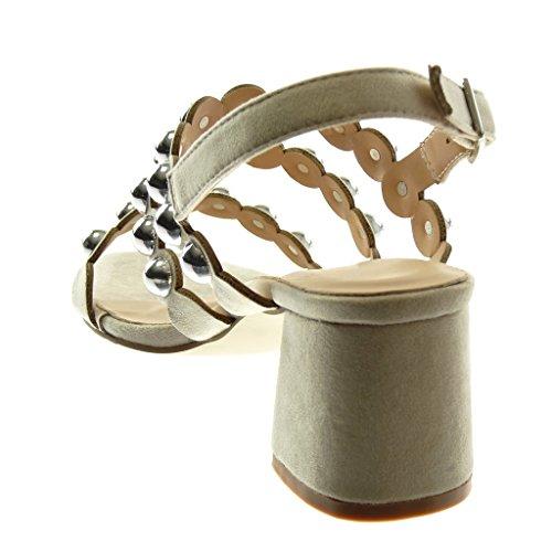 Angkorly Chaussure Mode Sandale Escarpin Lanière Cheville Femme Multi-Bride Clouté Perle Talon Haut Bloc 6.5 cm Beige