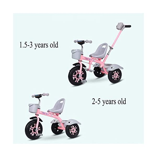GSDZSY - Kids Tricycle Trike 2 In1, With Removable Adjustable Push Handle Bar,EVA Soft Wheel,Seat Can Be Adjusted, Folding Footrest, 2-6 Years,D GSDZSY  5