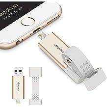 Maxchange Memoria USB 3.0 para iPhone/iPad/PC/Ordenador 64GB [Apple MFi Certificado] Flash Drive Pendrive con Lighting Conector, Externo Almacenamiento de Memoria, Expansión con Micro USB Adaptador Desmontable para Android Phones