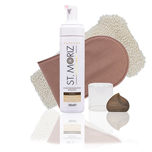 St Moriz Self Tanning Mousse Dark 200ml, (Dark Mousse+ Horn-Medical Applikator & Sisal-Peelinghandschuh)