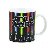 Star Wars Mug, l'ultimo dono del potere.  Le spade laser compaiono con fluido CALDO.  Cambia colore - Le spade laser compaiono in secondi.  Un totale di 13 spade laser: Darth Vader, Yoda, Anakin Skywalker, Obi-Wan Kenobi, Luke Skywalker e alt...