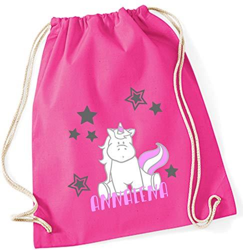 Turnbeutel mit Namen | inkl. NAMENSDRUCK | Motiv Einhorn sitzend | pink rosa 100% Baumwolle | für Mädchen Kinder Personalisieren & Bedrucken
