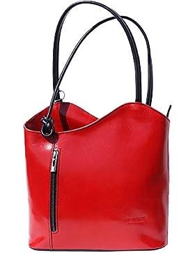 Schulter-Tasche und Rucksack, Damen-Tasche aus Echt-Leder Handgefertigt in Italien, Reißverschluss, zwei Innenfächer