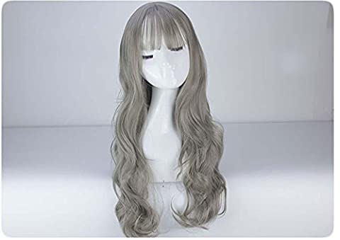 Multi-Color Sexy Long Hair Natural Fancy Dress Wigs Cosplay Costume Ladies Full Wig Party High Quality Wigs With Free Wig Cap And Wig Comb , granny grey