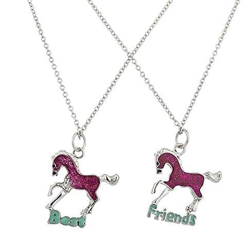 Lux Accessoires Paillettes Rose Cheval Best Friends BFF Ensemble collier