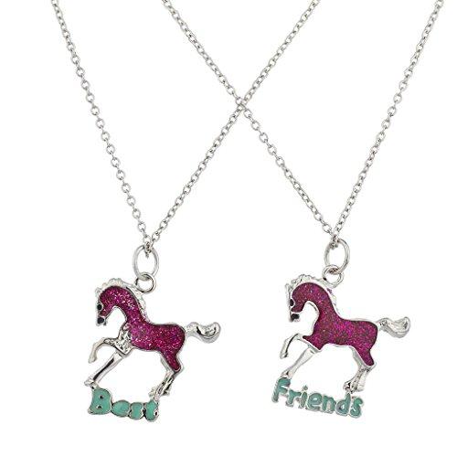 lux-accesorios-rosa-purpurina-caballo-mejores-amigos-bff-collar-set
