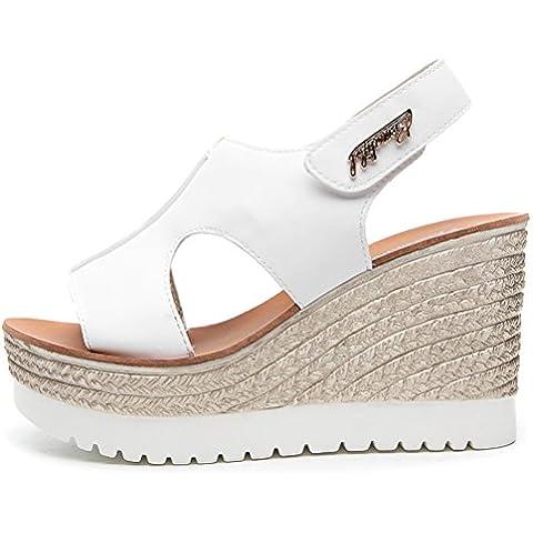 Cuña de verano sandalias de la plataforma del dedo del pie moderno peces cabeza de espesor inferior encajan bien en todas partes se inclinan los zapatos del estilo ocasional de las mujeres