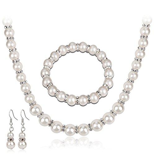 Bodhi2000® Jewelry Set Faux Pearls Bridal Bridesmaid Necklace Earrings Bracelet Lnkhoz