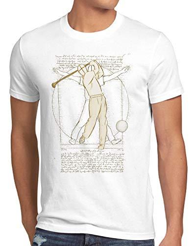 style3 Vitruvianischer Golfer Herren T-Shirt da Vinci, Größe:L, Farbe:Weiß