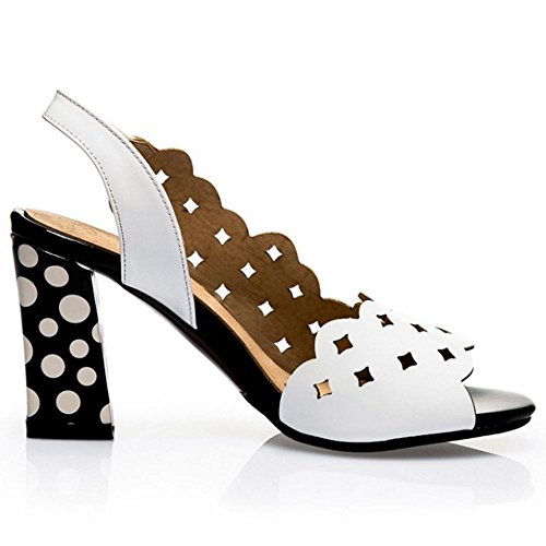COOLCEPT Femmes Mode Peep Toe Slingback Bloc Sandales Blanc