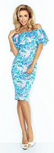 Glamour Empire. Donna Elastico Vestito Strati a Volant Scollo Bardot. 044 Blu Fiori