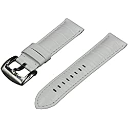 Crocodile Grain Padded Italian Calfskin Leather Watch Band With Polished Stainless Steel Buckle