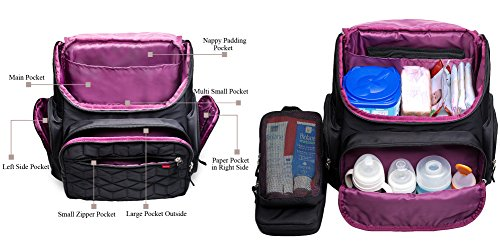 Bebamour Nappy Changing Bag Backpack Nylon Waterproof Nappy Backpack with Changing Mat