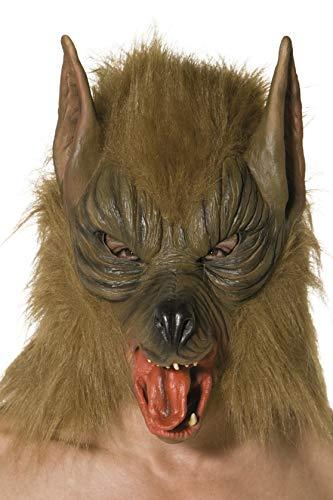 Kopf Werwolf Kostüm - Smiffys Herren Wolf Maske, One Size, Braun, 33785