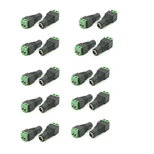 Sienoc 20 Stück DC Buchse 2,1 x 5,5 mm Adapter mit Schraubklemme für z.B. Netzteil (Z-dc)