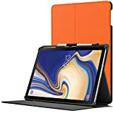 Forefront Cases Samsung Galaxy Tab S4 10.5 Hülle | S-Pen Stifthalter | Magnetische Galaxy Tab S4 10.5 Zoll Tablet-PC SM-T830/T835 Cover | Smart Schlaf Wach Funktion Dünn Leicht | Orange + Stylus