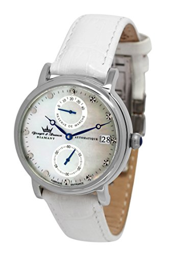 Yonger & Bresson – YBD 8521-10 Vs Largentière – Ladies Watch – Analogue – Automatic – White Dial – White Leather Bracelet