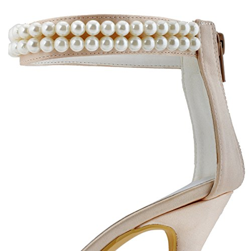 Elegantpark AJ3065 Satin Aiguille Bout Ferme Perle Chaine Fermeture Eclair Talon Pumps Femme Chaussures de Mariage Champagne