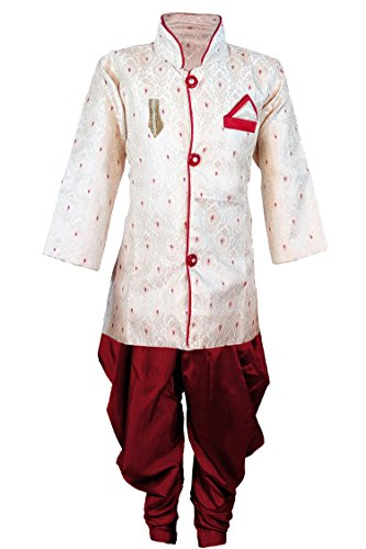 JBN Creation Boys Cotton Silk Sherwani Suit With Patiala Style Cowl Dhoti...