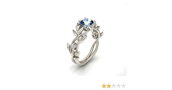cadeau de mariage bague de vigne feuille de fleur floral diamant diamant argent femmes Bague de fian/çailles feuille dolivier
