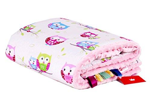 BABYLUX Babydecke Kuscheldecke Krabbeldecke MINKY PLÜSCH Decke 75 x 100 cm (21. Rosa + Eule)