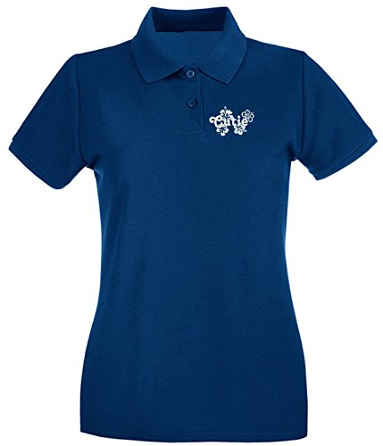 Cotton Island - Polo pour femme FUN1135 cutie with flowers decal 85239 Bleu Navy