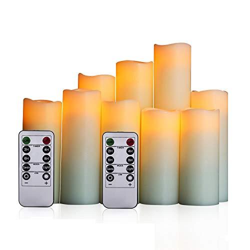 LED Kerzen,Flammenlose kerzen im 9er Set Realistisch flackernde LED-Flammen 10-Tasten Fernbedienung mit 24 Stunden Timer-Funktion