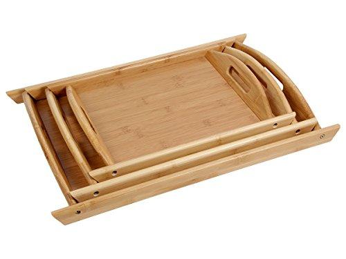 Lot de 3 plateaux en bois de bambou en forme pétrin qui s'emboitent avec poignées pour petit déjeuné au lit ou servir l'apéritif et les amuses bouches Extrêmement robuste et très esthétique