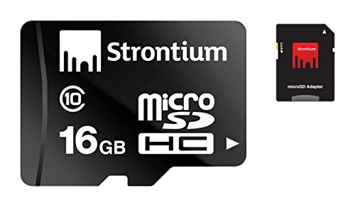 Strontium SR16GTFC10A 16GB Class 10 MicroSDHC Memory Card with Adapter