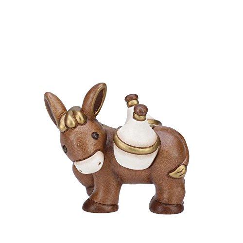 Thun® - asinello marrone con fiaschi - statuine presepe classico - ceramica - i classici