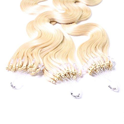 Hair2heart 50 x 0.5g microring loop extension capelli veri - 40cm - ondulato, colore #60 boindo platino