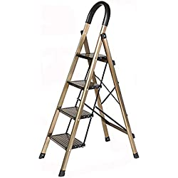 LADDERS Home Escalera Multiusos, Escalera de ingeniería Antideslizante Escalera de almacén de Metal Plegable (Color : Brown, Size : 51.5 * 77 * 138CM)