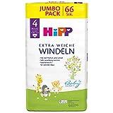 HiPP Babysanft Windeln für Kleinkinder, Geeignet von 8-14 kg, Gr. 4 (74-92), 4 Jumbopack, 66 Stück