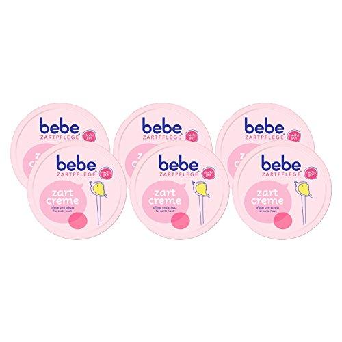bebe Zartpflege Zartcreme / bebe Creme für zarte, junge Haut / Feuchtigkeitsspendende Creme für Kinder / 6 x 150 ml