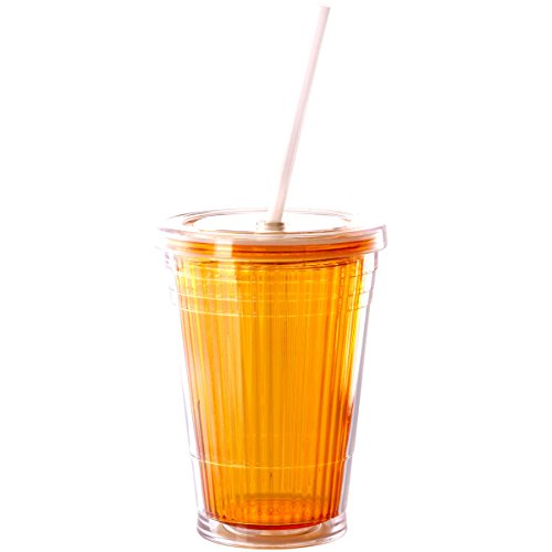 Trinkbecher to go mit Deckel und Strohhalm 350 ml Orange Kunststoff Thermobecher Camping Glas Becher Trinkglas Wasserglas Zubehör