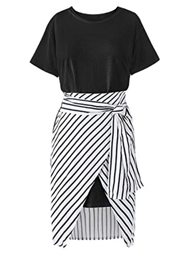ACHICGIRL Women's Fashion Long Tee Striped Skirt 2 Piece set Black
