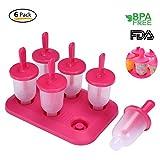 6 Stieleis Form für Baby Kinder - Aolvo Eisformen Eis 100% BPA Frei Selbst Gemacht Eis am Stiel Formen Ice Pop Maker mit Eis am Stiel Bereiter, Rot