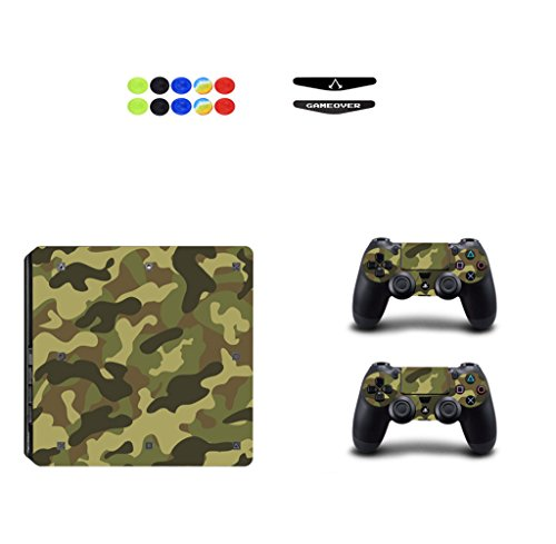 Skin for Ps4 Slim, Chickwin Consola Design Foils Vinyl Pegatina Sticker And 2 Playstation 4 Slim Dualshock Controlador Skins Set + 10pc Thumb Grips + 2pc Light Bar (Ejército Verde)