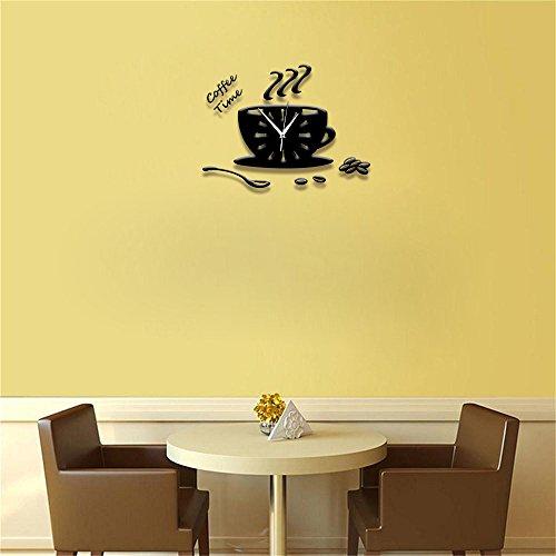 Ufengke® 3D Tasse À Café Acrylique Horloge Murale Stickers Muraux Design À La Mode Art De Décalque Décoration Créative De La Maison Noir
