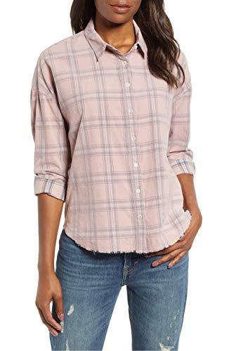 Corduroy Button Hemd (Lucky Brand Damen Button UP Plaid Multi Corduroy Shirt Hemd, Rosa, Groß)