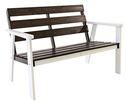 GARDENho.me 2-Sitzer Gartenbank HANKO Weiß/Taupegrau ca. 112x65x79 cm