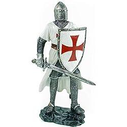 Jug. Vogler GmbH - Figura Decorativa de Caballero alemán con Cartel y Espada, diseño de Cruz, Color Blanco