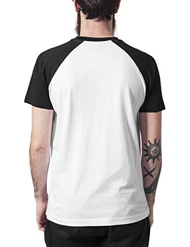 Urban Classics Raglan Contrast Tee, T-Shirt Uomo Mehrfarbig (Wht/Blk 224)