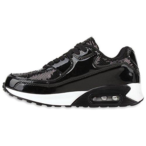Damen Herren Unisex Sportschuhe Runners Sneakers Laufschuhe Trendfarben Schwarz Pailletten