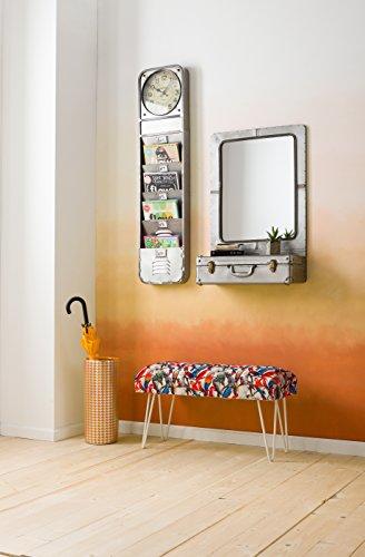 Kare Wandspiegel Suitcase, 80691, Kleiner Badspiegel mit Kofferablagefach im Industrial-Design, Silber (H/B/T) 85x55x23cm