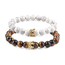 """Believe London® Distance Bracelets with Jewellery Bag & Meaning Card   Strong Elastic   Friends Relationship Couples His Hers Black Agate Onyx White Howlite (7"""" Tiger & 8"""" Howlite)"""