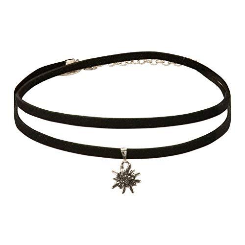 Alpenflüstern Trachten-Wickelband-Halskette Edelweiss - Damen-Trachtenschmuck Dirndlkette schwarz DHK234