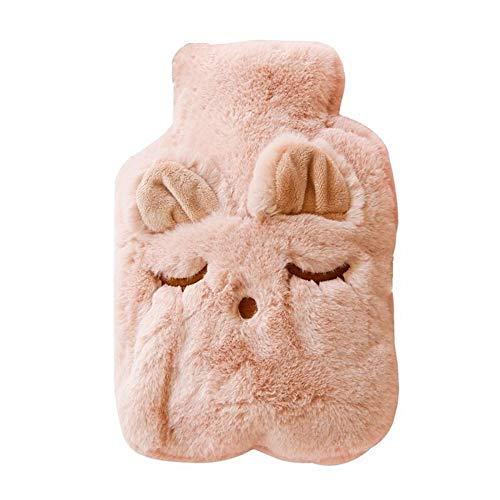 Wicemoon Wärmflasche mit Plüsch Bezug Karikatur Schläfriges Auge Hot Water Bottle Wasserinjektion Sicher und Warm für Winter Abende(Pink)