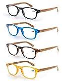 MODFANS Confezione da 4 occhiali da lettura 1.5 per uomo/donna, Cerniera a molla,leggera,effetto legno, lente trasparente con custodia,nero-blu-marrone-giallo